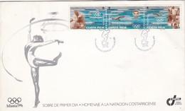 FDC- HOMENAJE A LA NATACION COSTARRICENSE. OBLITERACION 1996. COSTA RICA- BLEUP - Costa Rica
