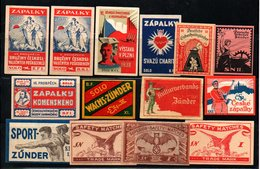 Czechoslovakia Matchbox Labels, 1918-1945., 14 Pcs - Matchbox Labels
