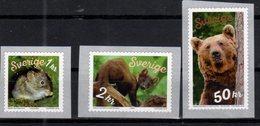 SWEDEN, 2018, MNH, FAUNA, BEARS, PINE MARTINS, MICE, COILS,3v - Bears