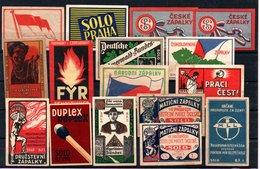Czechoslovakia Matchbox Labels, 1918-1945., 16 Pcs - Matchbox Labels
