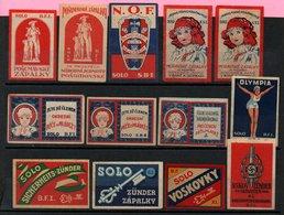 Czechoslovakia Matchbox Labels, 1918-1945., 13 Pcs - Matchbox Labels