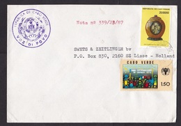 Cabo Verde: Cover To Netherlands, 1987, 2 Stamps, Coconut Art, Children Drawing, Rare Real Use (minor Damage) - Kaapverdische Eilanden