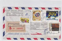 AIRMAIL ENVELOPE CIRCULEE EL SALVADOR TO URUGUAY RECOMMANDE MIXED STAMPS CIRCA 1993- BLEUP - El Salvador
