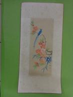 Tableau 16.5cm X 30cm -peinture Sur Soie ? Theme Asiatique Sur Soie -paon-papillon - Asian Art