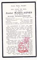 DP EZ Marie Neckebroeck - Zr. M. Agnes ° Gent 1883 † 1934 / Klooster Zrs. Josephinnen - Devotion Images
