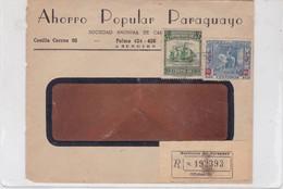 AHORRO POPULAR PARAGUAYO COMMERCIAL ENVELOPE CIRCULEE  CIRCA 1950's RECOMMANDE SURTAXE ROUGE- BLEUP - Paraguay