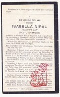 DP Isabella Nipal ° Gelrode Aarschot 1841 † Blauwput Kessel-Lo Leuven 1912 X D. Symons - Devotion Images