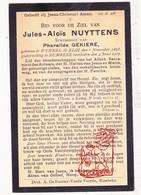 DP Jules A. Nuyttens ° Sint-Eloois-Winkel Ledegem 1873 † Rumbeke Roeselare 1917 X P. Gekiere - Devotion Images