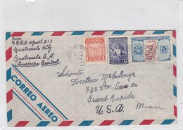 AIRMAIL ENVELOPE CIRCULEE GUATEMALA TO USA CIRCA 1948 BANDELETA PARLANTE MIXED STAMPS- BLEUP - Guatemala