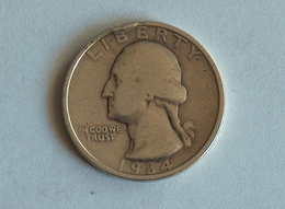 Etats-Unis, United States, USA - Quarter 1/4 Dollar 1934 - Silver, Argent - Emissioni Federali