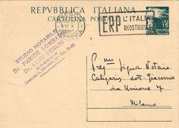 """I.P.TIPO DEMOCRATICA L. 15 (1949) VIAGGIATO DA BRESCIA A MILANO 12.10.1950 - FILAGRANO C141 """"ERP L'ITALIA RICOSTRUISCE"""" - 1946-.. République"""