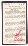DP Eudoxie M. Notredame ° Woesten Vleteren 1900 † Moorsele Wevelgem 1930 X H. Vergote - Devotion Images