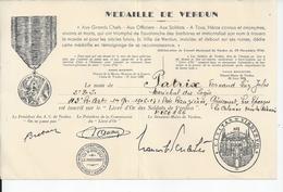 MEDAILLE DE VERDUN Diplome - Unclassified
