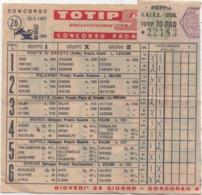Schedina Totip Concorso 26 Del 25.06.1961 (gare A Ponte Di Brenta Padova, Palermo, Trieste, Monza, Napoli, Torino) - Sports