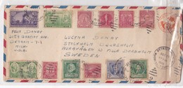 AIRMAIL ENVELOPE CIRCULEE USA TO SWEDEN CIRCA 1946 MIXED STAMPS AUTRES MARQUES- BLEUP - United States