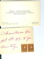 Courrier Relatif à Marc Chantraine Chanteur Lyrique Pensionnaire Du Théâtre Royal De La Monnaie 1950, 1952, 1985 - Musique & Instruments
