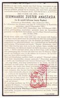 DP EZ Leonie Nuytten - Zr. Anastasia ° Moorslede 1861 † Klooster Rumbeke Roeselare 1944 - Devotion Images