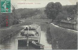 """Coulanges Sur Yonne : Péniche """"Cie Générale De Navigation"""" Boivin Janvier 1912. Le Canal. Rare! - Coulanges Sur Yonne"""