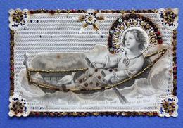 IMAGE PIEUSE    CANIVET   MAISON BASSET   PAILLETTES DORURES  JESUS DANS SA BARQUE - Devotion Images