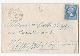 N°21 Sur Enveloppe De St Germain Lembron Vers Clermont 24/12/1866 Marque Rurale D - Postmark Collection (Covers)