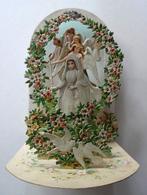 SOUVENIR DE COMMUNION 3 D A SYSTEME  7 PLANS NOMBREUX ANGES FLEURS AVEC PAILLETTES COLOMBES - Images Religieuses