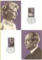 LIECHTENSTEIN - 1983 - Fürst Fransz Josef II. Und Fürsten Gina Von Liechtenstein - 2 X Maximum Karte - Nr. 41 - FDC - Maximum Cards