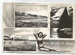 X4264 Saluti Dal Lido Di Lavinio - Anzio (Roma) - Panorama Vedute Multipla - Pin Up Girl Femme Frau / Viaggiata 1959 - Italia