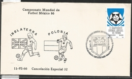 J) 1983 MEXICO, ENGLAND-POLAND, BALL, SPECIAL CANCELLATION, II WORLD YOUTH FOOTBALL CHAMPIONSHIP, FDC - Mexico