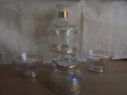 Ancien - Reste De Service à Liqueur - Flacon + 3 Coupelles - Glass & Crystal
