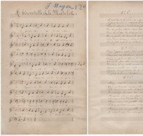 CAF CONC MANUSCRIT MARINE PARTITION XIX L'HIRONDELLE ET LE MATELOT 1886 ? 1872 ? BRETAGNE ? OHÉ LES SAVANTS DU BORD ! - Autres