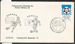 J) 1983 MEXICO, SPAIN-ALGERIA, BALL, SPECIAL CANCELLATION, II WORLD YOUTH FOOTBALL CHAMPIONSHIP, FDC - Mexico