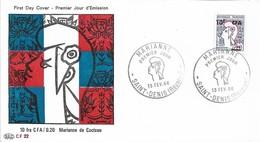Réunion 1966  - FDC - La Marianne De Cocteau, Oblitération 13/02/1966 SAINT-DENIS. - Lettres & Documents