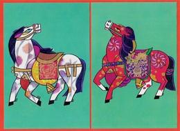 CPM Entier Postal Chine (Lot De 2) Chevaux Horses CHINA - 1949 - ... République Populaire
