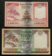 Nepal 5, 10 Rupie Rupee 2012-2017 - 2x Pcs Set UNC FDS - Nepal