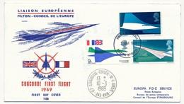 GRANDE BRETAGNE - Enveloppe Premier Jour CONCORDE - Liaison Européenne Conseil De L'Europe - 1969 - Concorde