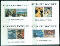Rwanda 1980 Paintings, Impressionists 4xMS MUH - Rwanda