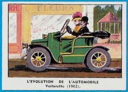 """Image CHOCOLAT Chocolaterie De L'Union 69 LYON """"L'Evolution De L'Automobile - Voiturette 1902"""" * Auto Voiture Car - Old Paper"""