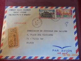 Lettre De St Pierre Et Miquelon A Destination De Paris De 1971 En Recommande - Marcophilie (Lettres)