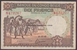 Banconota Da 10 Franchi - [ 5] Congo Belge