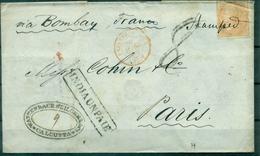 INDE Lettre De Calcutta Pour Paris Via Bombay Cachet Rouge :pays Etrg Suez 20 Mars 1859 Bien Rare. - 1858-79 Compagnie Des Indes & Gouvernement De La Reine