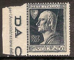 """(Fb).Regno.V.E.III.1927.Varietà.50c """"Volta""""con Taglio Chirurgico.Nuovo,g.integra,MNH,bordo Di Foglio (743-16) - 1900-44 Vittorio Emanuele III"""