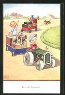 Künstler-AK John Wills: Kinder Beim Umzug Mit Einem Traktor Und Hänger - Wills, John