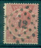 BELGIQUE N° 20 Ob Losange 12 B / TB Cote : 20 €. - 1865-1866 Profil Gauche
