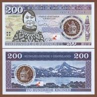 GREENLAND 200 Kroner 2018 Polymer UNC. Private Essay. Specimen. - Andere