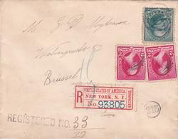 Lettre - Etats-Unis / New-York  - 1895 - Timbres N°71 + 77 -  Recommandé - 1847-99 Unionsausgaben