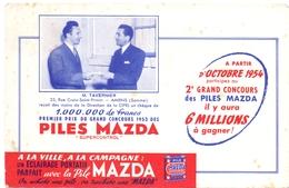 Buvard Vloeipapier - Piles Mazda - Grand Concours 1953 - M. Tavernier - Amiens - Piles
