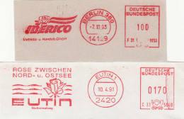 ALLEMAGNE - Lot 2 Empreintes Mécaniques - Roses - Cartas