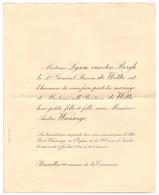 Faire Part De Mariage - Adel Noblesse - Béatrice Fille Lt Général Baron De Witte X Andre Wasseige - Bruxelles 1925 - Wedding