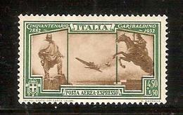 (Fb).Regno.V.E.III.Posta Aerea Espresso.1932.-Lire 4,50 + 1,50 Verde Nuovo,gomma Integra,MNH (448-15) - 1900-44 Vittorio Emanuele III