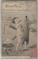 CPA - FANTAISIE ILLUSTREE Signee - JOYEUSES PÂQUES - ENFANT ET LAPIN - Edition P.F.B. - Ostern